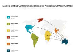 Map Illustrating Outsourcing Locations For Australian Company Abroad Ppt PowerPoint Presentation File Tips PDF