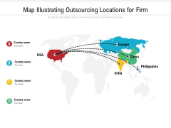 Map Illustrating Outsourcing Locations For Firm Ppt PowerPoint Presentation File Demonstration PDF