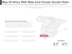 Map Of Africa With Men And Women Gender Ratio Powerpoint Slides