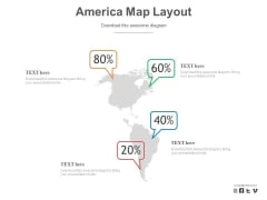Map Of America With Percentage Data PowerPoint Slides