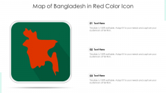 Map Of Bangladesh In Red Color Icon Ppt PowerPoint Presentation Gallery Shapes PDF