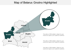 Map Of Belarus Grodno Highlighted Ppt PowerPoint Presentation Professional Gridlines
