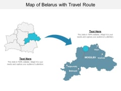 Map Of Belarus With Travel Route Ppt PowerPoint Presentation Summary Slides