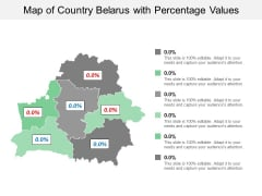 Map Of Country Belarus With Percentage Values Ppt PowerPoint Presentation Slides Introduction