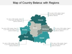 Map Of Country Belarus With Regions Ppt PowerPoint Presentation Infographic Template Clipart