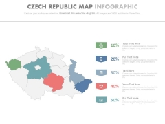 Map Of Czech With Percentage Data And Icons Powerpoint Slides