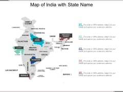 Map Of India With State Name Ppt Powerpoint Presentation Infographic Template Aids
