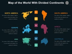 Map Of The World With Divided Continents Ppt PowerPoint Presentation Styles Visual Aids PDF