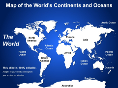 Map Of The Worlds Continents And Oceans Ppt PowerPoint Presentation Infographic Template Structure PDF