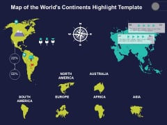 Map Of The Worlds Continents Highlight Template Ppt PowerPoint Presentation Show Display PDF