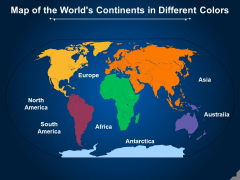 Map Of The Worlds Continents In Different Colors Ppt PowerPoint Presentation Ideas Example Topics PDF