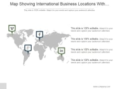 Map Showing International Business Locations With Media Icons Ppt PowerPoint Presentation Guidelines