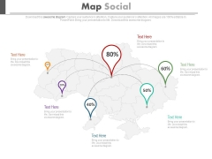 Map With Location Pointers And Percentage Ratios Powerpoint Slides