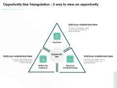 Market Approach To Business Valuation Opportunity Size Triangulation 3 Way To View An Opportunity Themes PDF