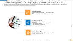 Market Development Existing Products Services To New Customers Diagrams PDF