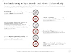 Market Entry Strategy Barriers To Entry Gym Health And Fitness Clubs Industry Slides PDF