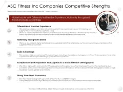 Market Entry Strategy Gym Health Clubs Industry ABC Fitness Inc Companies Competitive Strengths Themes PDF