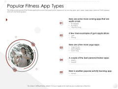 Market Entry Strategy In Gym Health And Clubs Industry Popular Fitness App Types Professional PDF