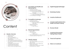 Market Entry Strategy In Gym Health And Fitness Clubs Industry Content Icons PDF