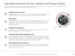 Market Entry Strategy Key External Drivers For Gym Health And Fitness Industry Clipart PDF