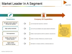 Market Leader In A Segment Ppt PowerPoint Presentation Professional Example