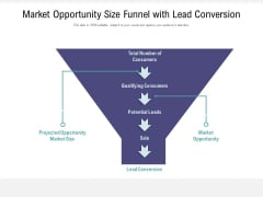Market Opportunity Size Funnel With Lead Conversion Ppt PowerPoint Presentation Infographics Graphic Images PDF