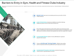 Market Overview Fitness Industry Barriers To Entry In Gym Health And Fitness Clubs Industry Sample PDF