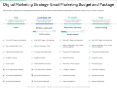 Market Overview Fitness Industry Digital Marketing Strategy Email Marketing Budget And Package Diagrams PDF