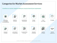 Market Research Categories For Market Assessment Services Ppt PowerPoint Presentation Infographic Template Images PDF