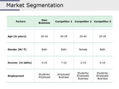 Market Segmentation Ppt PowerPoint Presentation Summary Graphics Tutorials