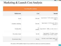 Marketing And Launch Cost Analysis Ppt PowerPoint Presentation Summary Picture