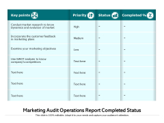 Marketing Audit Operations Report Completed Status Ppt PowerPoint Presentation Gallery Format PDF
