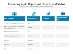 Marketing Audit Report With Priority And Status Ppt PowerPoint Presentation Gallery Guidelines PDF
