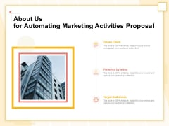 Marketing Automation About Us For Automating Marketing Activities Proposal Template PDF