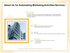Marketing Automation About Us For Automating Marketing Activities Services Formats PDF
