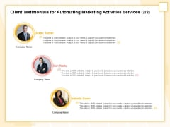 Marketing Automation Client Testimonials For Automating Marketing Activities Services Capture Diagrams PDF