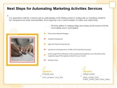 Marketing Automation Next Steps For Automating Marketing Activities Services Sample PDF