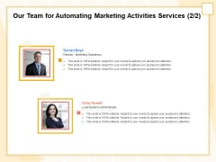 Marketing Automation Our Team For Automating Marketing Activities Services Marketing Topics PDF