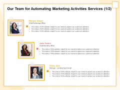 Marketing Automation Our Team For Automating Marketing Activities Services Microsoft PDF