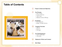 Marketing Automation Table Of Contents Inspiration PDF