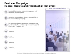 Marketing Campaign Business Campaign Recap Results And Flashback Of Last Event Icons PDF