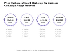 Marketing Campaign Price Package Of Event Marketing For Business Campaign Recap Proposal Brochure PDF