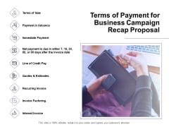 Marketing Campaign Terms Of Payment For Business Campaign Recap Proposal Infographics PDF