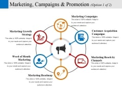 Marketing Campaigns And Promotion Template 1 Ppt PowerPoint Presentation Pictures Clipart Images