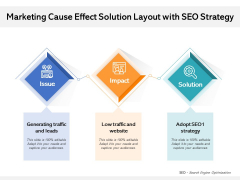 Marketing Cause Effect Solution Layout With SEO Strategy Ppt PowerPoint Presentation Outline Infographics PDF