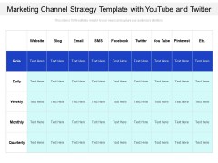 Marketing Channel Strategy Template With Youtube And Twitter Ppt PowerPoint Presentation Gallery Styles PDF