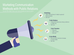 Marketing Communication Methods With Public Relations Ppt PowerPoint Presentation Summary Tips PDF
