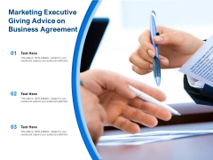 Marketing Executive Giving Advice On Business Agreement Ppt PowerPoint Presentation Gallery Infographics PDF