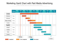 Marketing Gantt Chart With Paid Media Advertising Ppt PowerPoint Presentation File Objects PDF