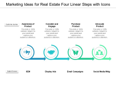 Marketing Ideas For Real Estate Four Linear Steps With Icons Ppt PowerPoint Presentation Layouts Gridlines